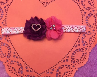 Valentines day headband maroon and pink hearts