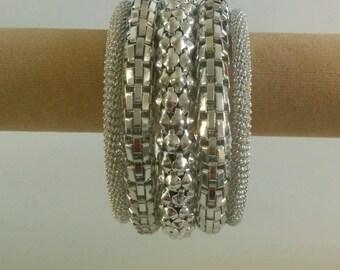 Silver Spiral Metallic 5 layer Bracelet