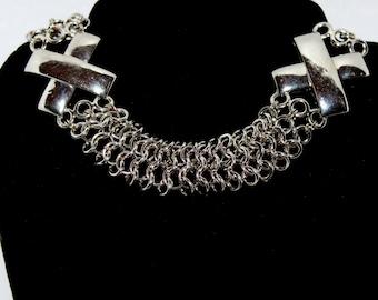 Silver Cross Chain Necklace / Choker   #103