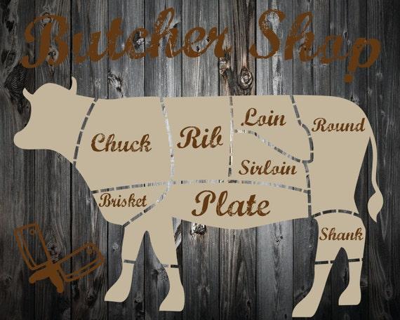 Items Similar To Butcher Shop Cow Diagram Print Cow Print Kitchen Decor On Etsy