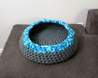 Cozy Crochet Pet Bed | Cat Bed | Small Dog Bed | Pet Basket | Pet Bedding | Round | Photo Prop | Charcoal Grey | Turquoise Blue Ombré