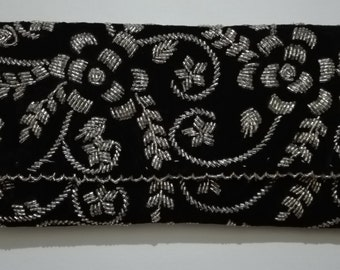 Evening Clutch made with Silver Beads on Black Velvet