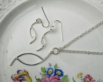 Matching Pendant and Earrings Set - Solid Sterling Silver