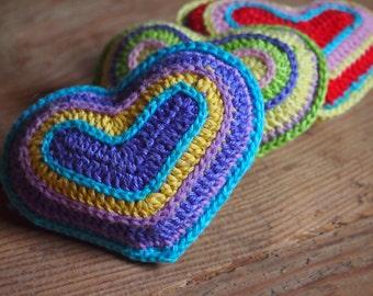 crochet pattern heart amigurumi, crochet heart pattern, pattern crochet heart, yellow, pink, red, blue, purple, green, white