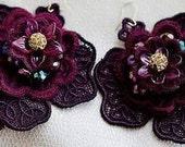 Statement cotton lace earrings marsala vine color