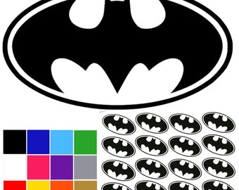 Batman Decal x 16. Small Batman Stickers. Self Adhesive Batman Decals. Ships Worldwide. FREE UK SHIPPING.