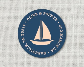 Custom Nautical Address Label, Sail Boat Address Stickers, Return Address Label