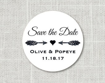 Save the Date Wedding Stickers, Rustic Arrows Personalized Save the Date Stickers