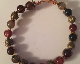 Agate and brass bead copper wire bangle bracelet