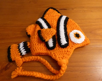 Clown Fish Hat crochet 3-6 mths