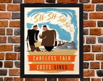 Framed Careless Talk Costs Lives Second World War British Propaganda Poster A3 Size Mounted In Black Or White Frame