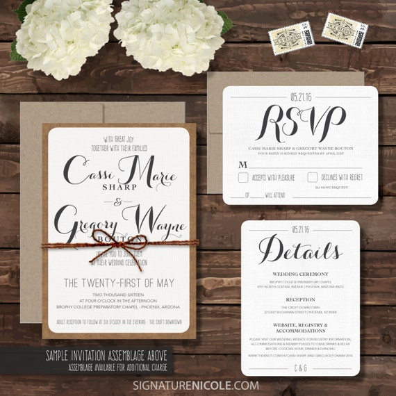 Samples Of Wedding Invites: SAMPLE Rustic Wedding Invitation With RSVP And Detail Cards