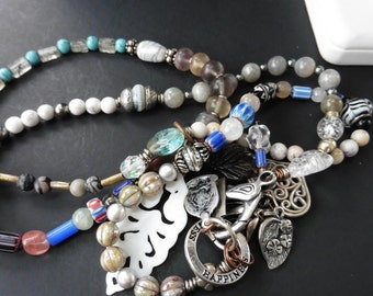 Items similar to triple strand safari inspired glass and natural stone and shell necklace on etsy - Safari murano jewelry ...