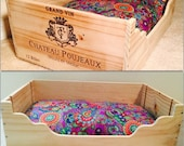 Small dog bed, Wooden dog bed, wine crate, wood dog beds, cat beds, wood cat bed, dog beds