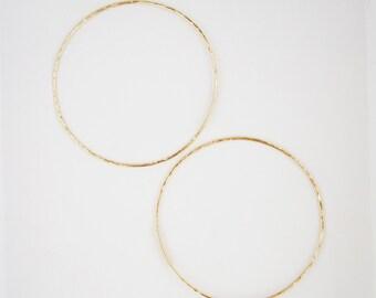 """2"""" Gold/Silver Open Hoop Earrings, 14K Gold-filled, Sterling Silver, Large, Grande Cerceaux, Boucles d'Oreilles, Bijoux, Womens Jewelry"""