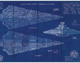 Imperial Star Destroyer Star Wars Poster Blueprint (A2 = 420mm*594 or 16.5' * 23.4')