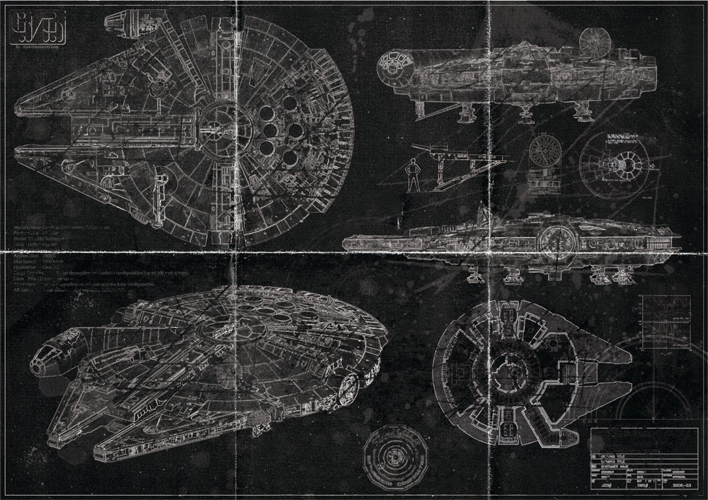 millennium falcon blueprint blackprint edition. Black Bedroom Furniture Sets. Home Design Ideas