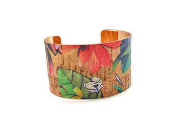 Cork cuff bracelet, Portuguese cork, Flower cuff bracelet, vegan bracelet, eco friendly, cork jewelry, large cuff, statement bracelet
