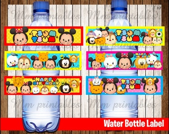 80% OFF SALE Tsum Tsum Water Bottle Label instant download, Printable Tsum Tsum Water Bottle Label, Tsum Tsum Party Water Label