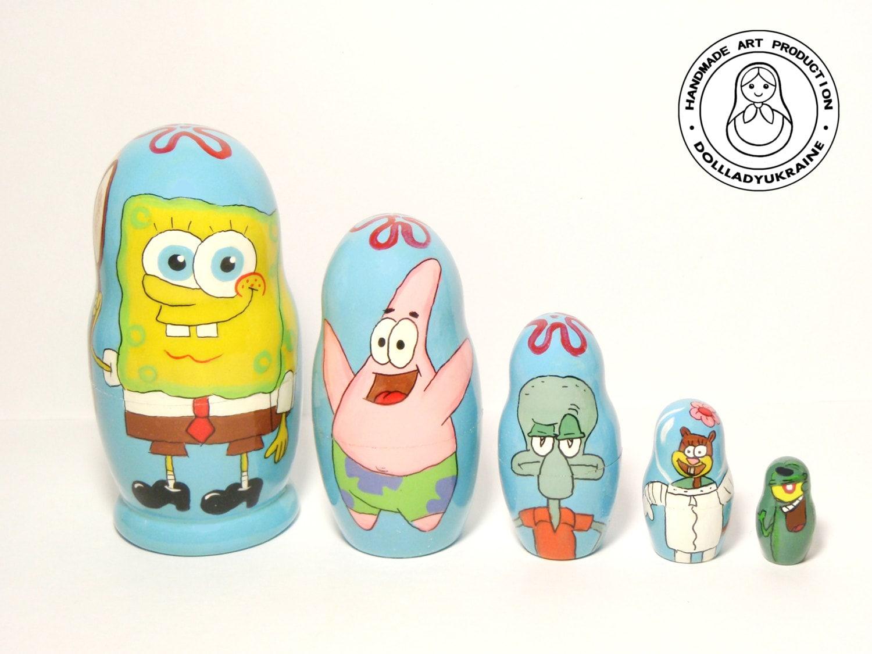 Spongebob squarepants bathroom accessories - Nesting Dolls Spongebob Squarepants Matryoshka Doll 5pcs 11 Cm Nickelodeon Characters Funny Gifts