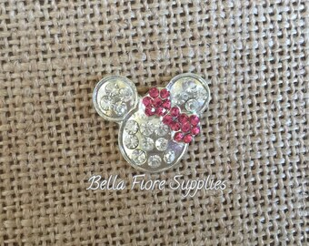 Pink Minnie Mouse Rhinestone Flatback Button, Minnie Mouse Mickey Mouse Embellishment, DIY Wholesale, Disney Headband