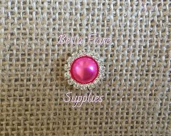 Hot Pink Pearl Rhinestone Embellishment- 16mm- Rhinestone Pearl Flatback- Rhinestone for Headband, Craft Embellishment-Wholesale