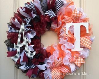 House Divided Wreath, Alabama Tennessee House Divided Wreath, Collegiate Wreath, Alabama Wreath, Tennessee Wreath
