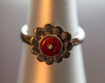 Silver Flower Red Spondylus