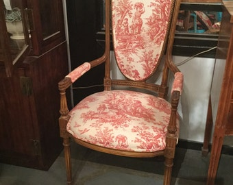 SOLD: Pair of French High back chairs in Toile cotton and linen fabric
