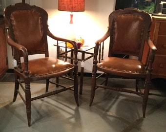Rare Bentwood Pair of Mahogany and Leather Chairs