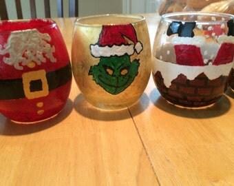 Custom Painted Stemless Wine Glasses