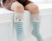 Baby Fox Socks, Baby Knee High Socks, Chevron Knee High Socks, Infant Socks