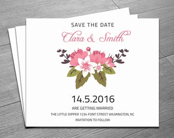 free electronic save the date templates - printable save the date watercolor floral wedding save the