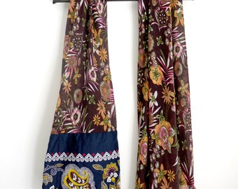 Scarf flowers EXOTIC, two fabrics: bordeaux printed cotton voile / comores fabric