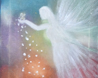 Angel of happiness -  Matte finish canvas Print, premium grade, Colorful finish, Reiki Charged, healing, Wall decor, Magic.