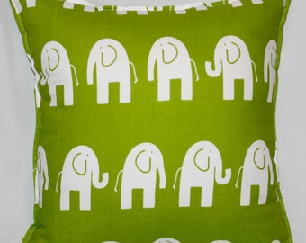 "Green and White Elephant Pillow Cover - 18"" x 18"" with Stitched Border"