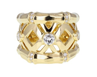 Cartier Diamond Bamboo Ring in 18ct Gold