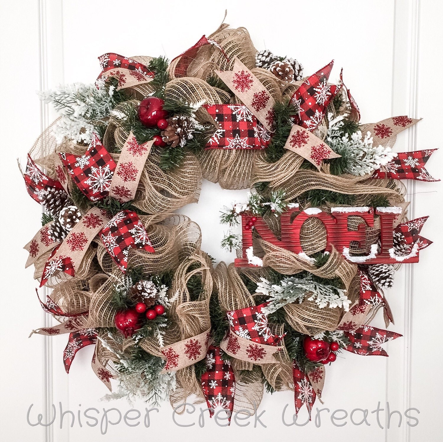 Noel burlap deco mesh wreath christmas wreath for front door for How to decorate a burlap wreath for christmas