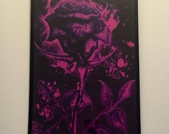 Purple rose 11x17 framed digital print