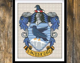 Buy 2 get 1 free. Ravenclaw Crest Cross Stitch Pattern. Harry Potter Cross stitch pattern. (#P- 0201).  Instant Download.