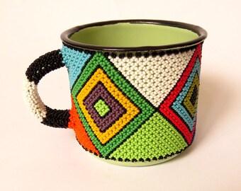 African Zulu beaded Mug – Diamond