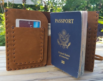 Passport holder // Passport Holder With Pockets // Men's Passport Holder // Women's Passport holder // Men's Brown Travel Wallet