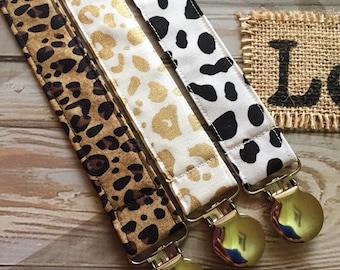 Animal Print/Leopard Pacifier Clip Set