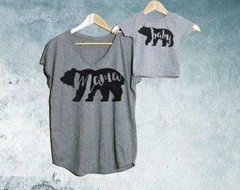 Mama Bear + Baby Bear T-shirt Heather Grey Set of 2, Mama Bear V-Neck T-shirt, Baby Bear T-shirts, Baby shower gift