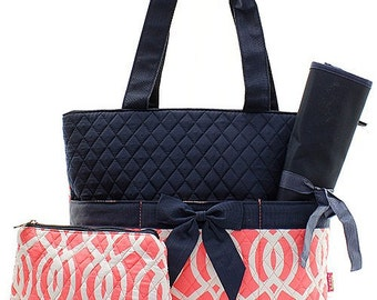 Monogrammed Diaper Bag/ Quilted Diaper Bag/ Vine Coral/ FREE MONOGRAM
