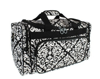 Monogrammed Damask Duffel Bag/ Black& White