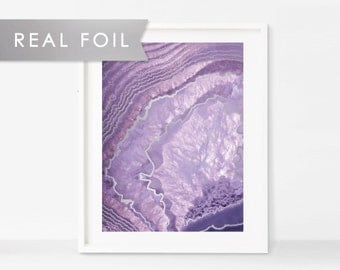 Purple Crystal Agate with Real Silver Foil Art Print
