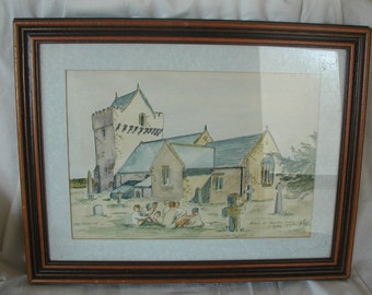 """Watercolour Painting Entitled """"Picnic at Newton Church"""" Signed D. Ogden"""