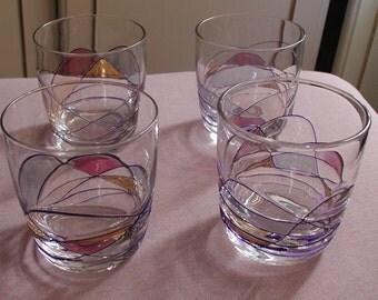 Set of 4 Handmade Glasses Gold Burgundy Stain