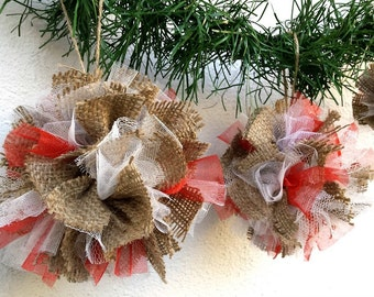 Christmas Tree Ornaments/Set 3/Burlap Rag Ball/Rustic Burlap Ornaments/Christmas Decorations/Home Decor/Christmas Rag Balls/Holiday decor